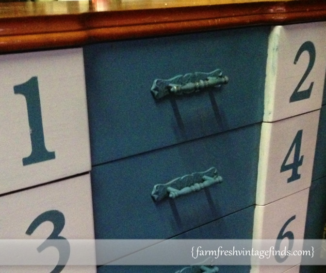 Aubusson Blue Dresser Close Up
