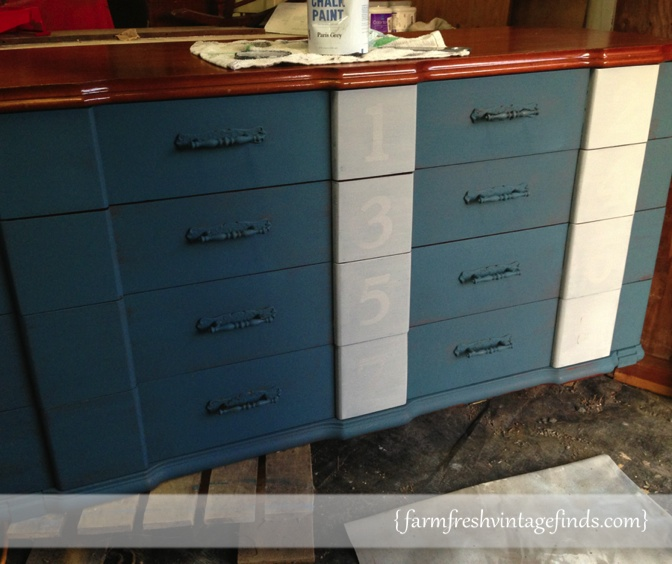 Aubusson Blue Dresser with Numbers