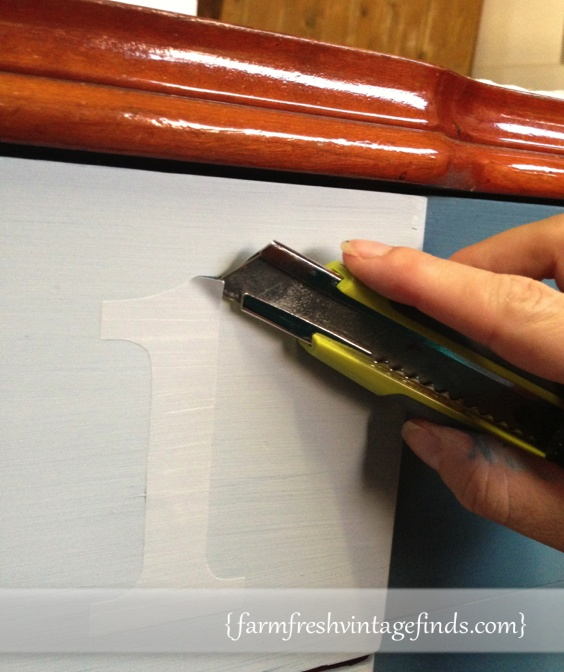 How to put numbers on a painted dresser