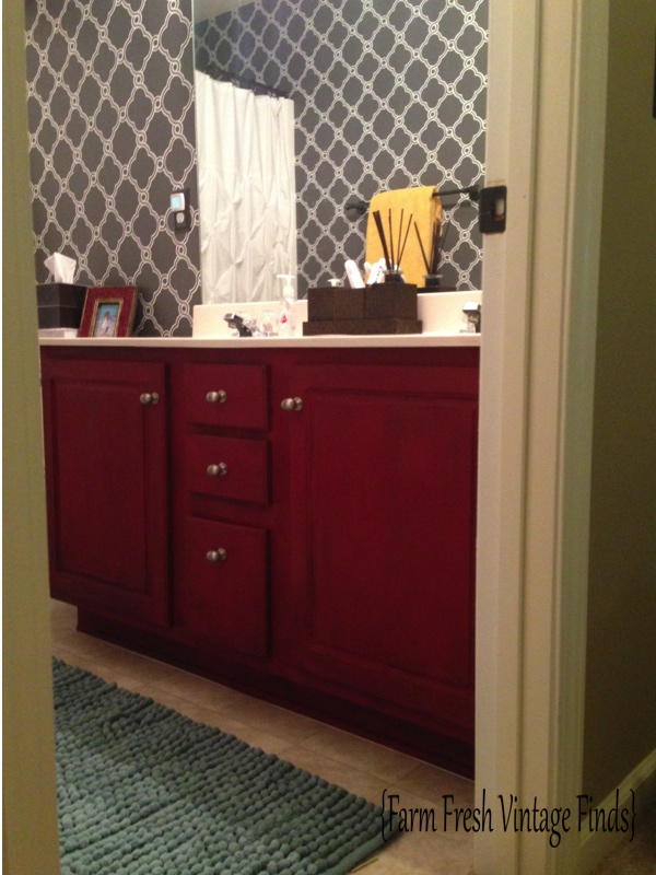 Painting And Distressing Bathroom Cabinets how to transform your bathroom vanity - farm fresh vintage finds