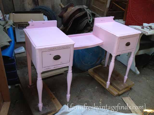 Pink vanity latex paint farm fresh vintage finds