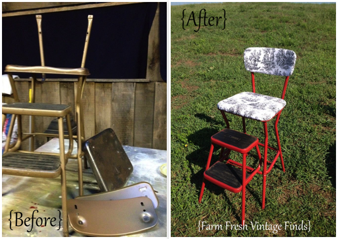 Cosco Stepstool makeover farm fresh vintage finds & Vintage Cosco Stool Makeovers - Farm Fresh Vintage Finds islam-shia.org