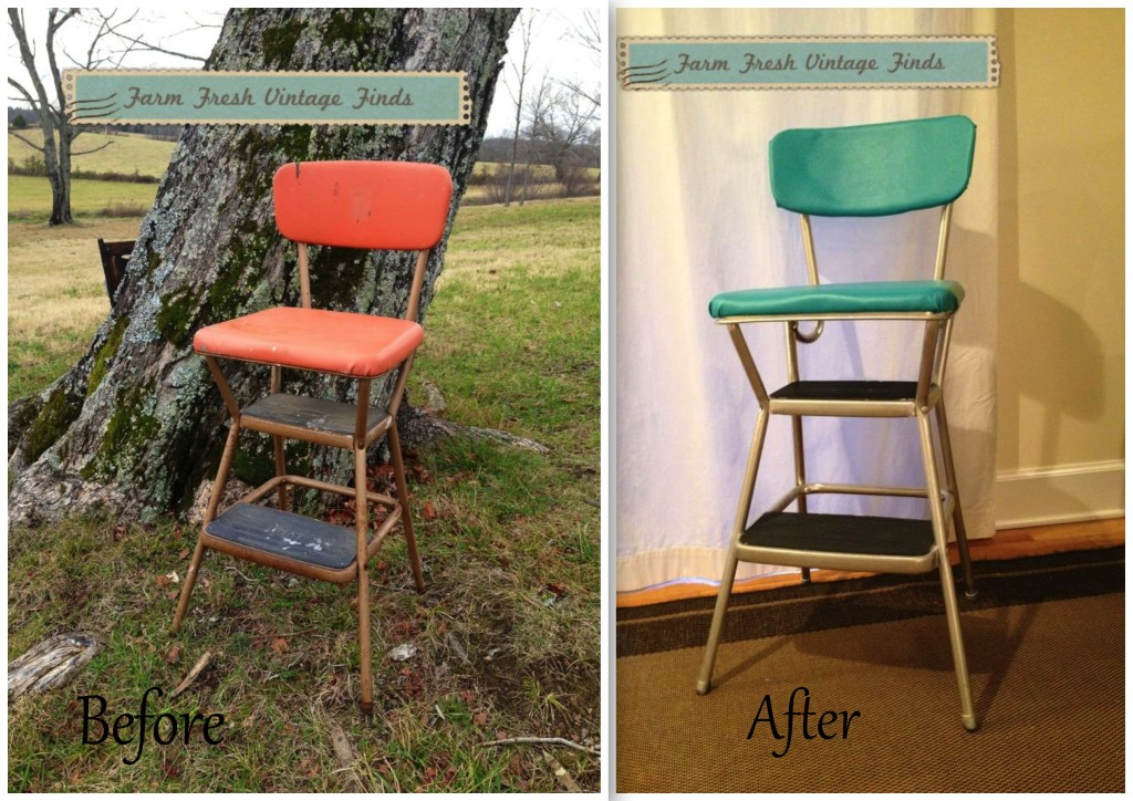 Red Cosco Chair farm fresh vintage finds makeover