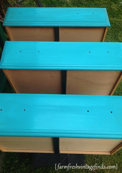 Turquoise Dresser Drawers