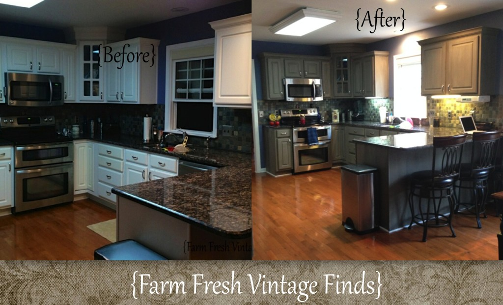Painted cabinet tutorials farm fresh vintage finds for Can you paint thermofoil kitchen cabinets