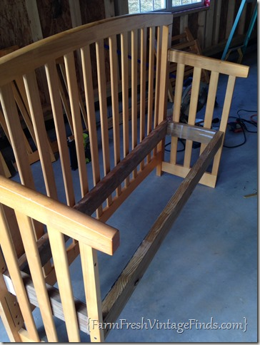 Drop Side Crib turned into a bench