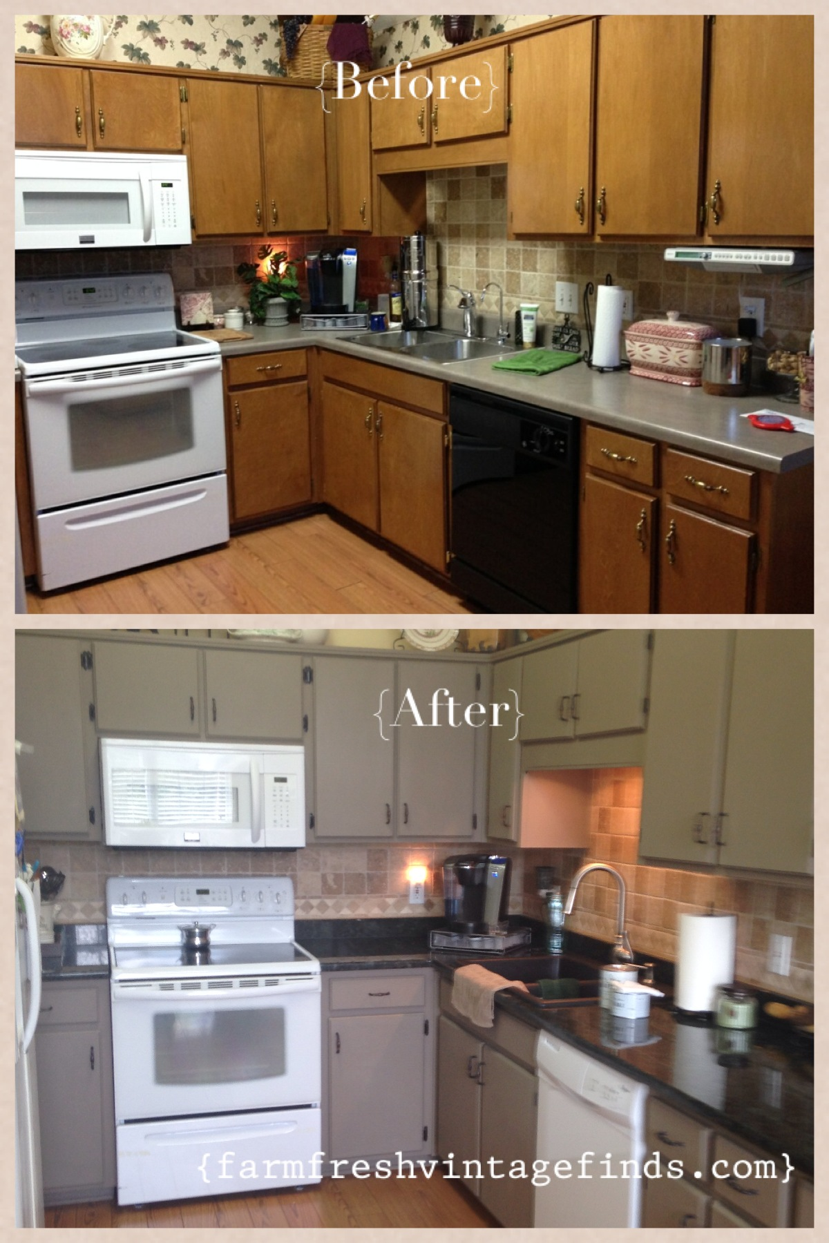 Kitchen cabinet reveal farm fresh vintage finds for Kitchen cabinets before and after
