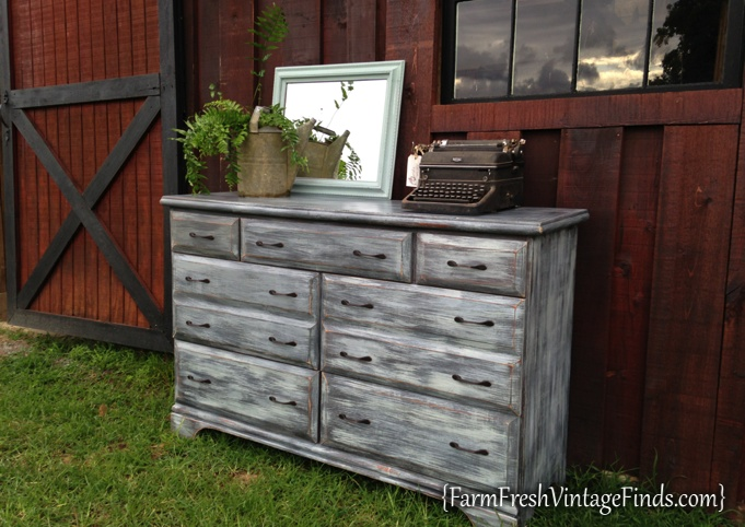 Painted Dresser With Driftwood Finish