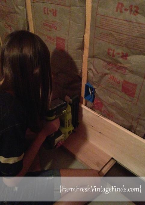 Brad Nailing a Plank Wall