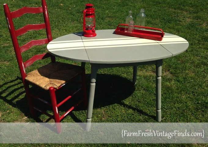 Two Tone Drop Side Table~Theme Furniture Makeover Day~