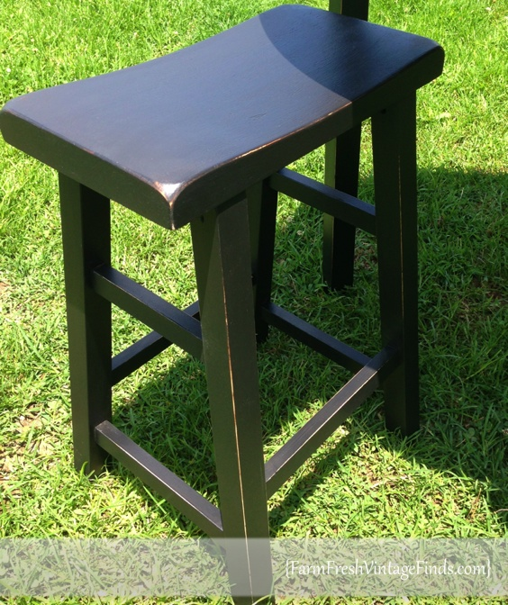 Saddle Stool Painted in SW Tricorn Black & Painted Pub Table and Saddle Stools - Farm Fresh Vintage Finds islam-shia.org