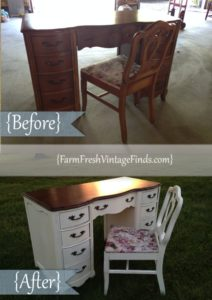 Before and After Old White Desk