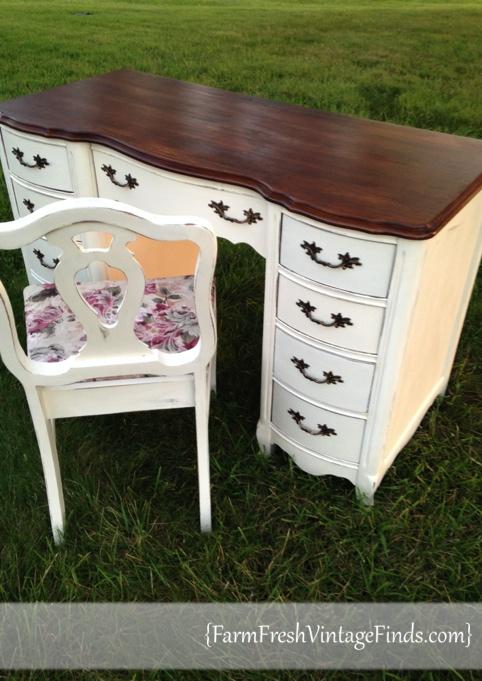 Old White Desk After