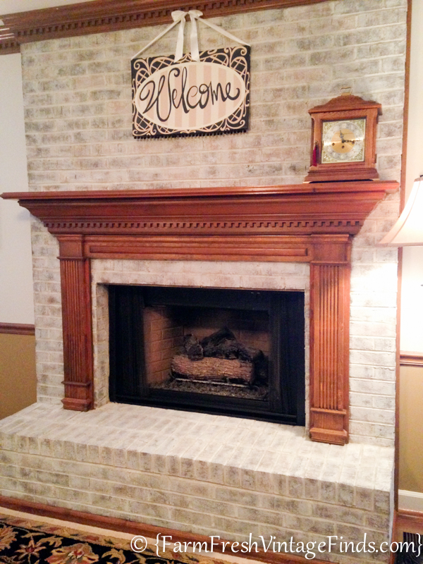 Painted fireplace brick