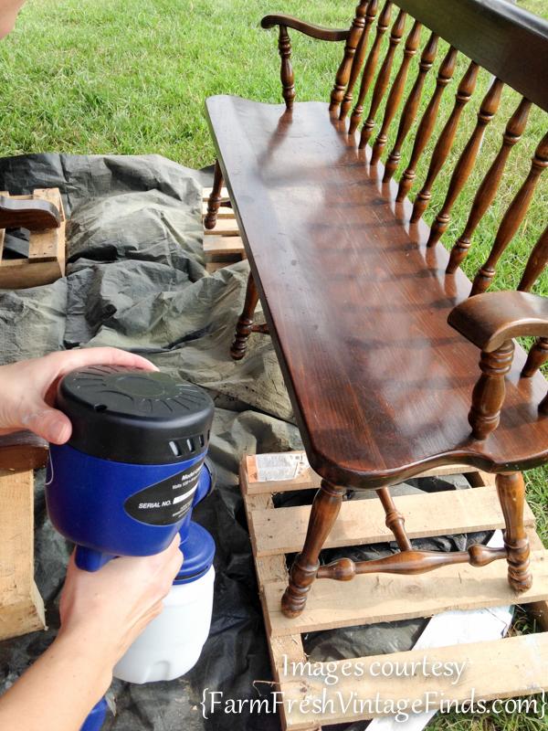 Spraying a bench