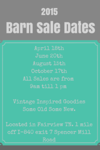 2015 Barn Sale Dates