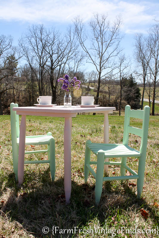 Painted Table and Chairs-6