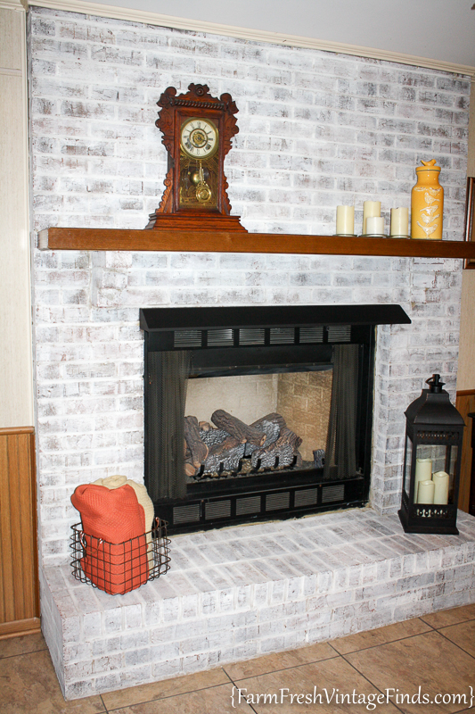 How to Whitewash a Fireplace with DIY Chalk Type Paint-17