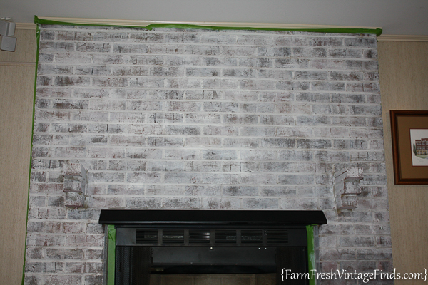 How to Whitewash a Fireplace with DIY Chalk Type Paint-7