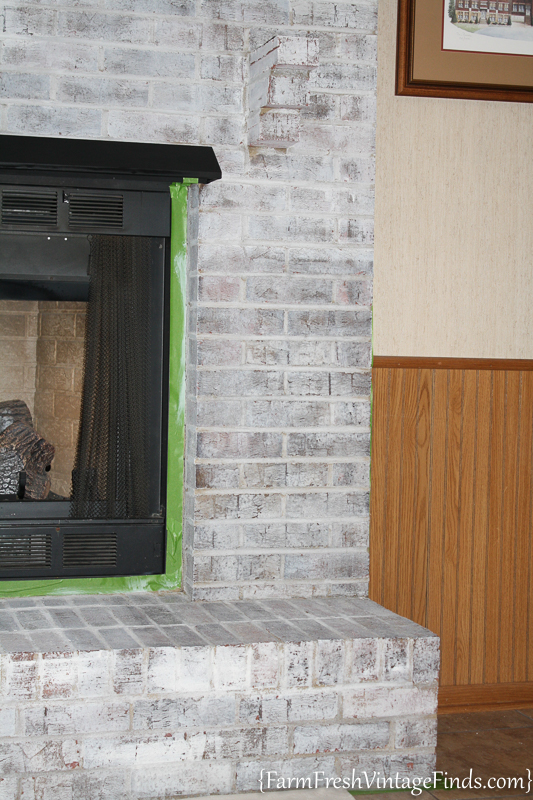 How to Whitewash a Fireplace with DIY Chalk Type Paint-8