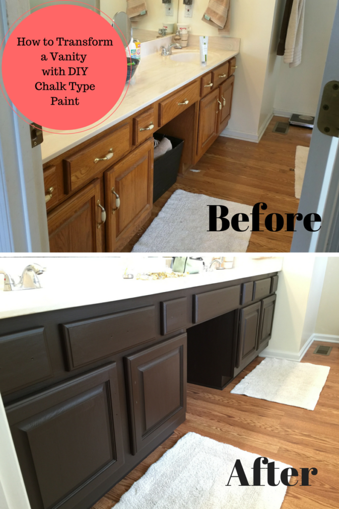 Bathroom vanity transformation with diy chalk type paint for Bathroom cabinets painting ideas