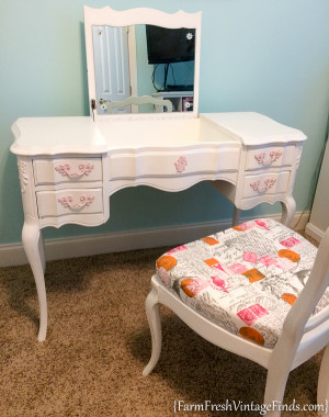 French Provencial Vintage Linen Vanity