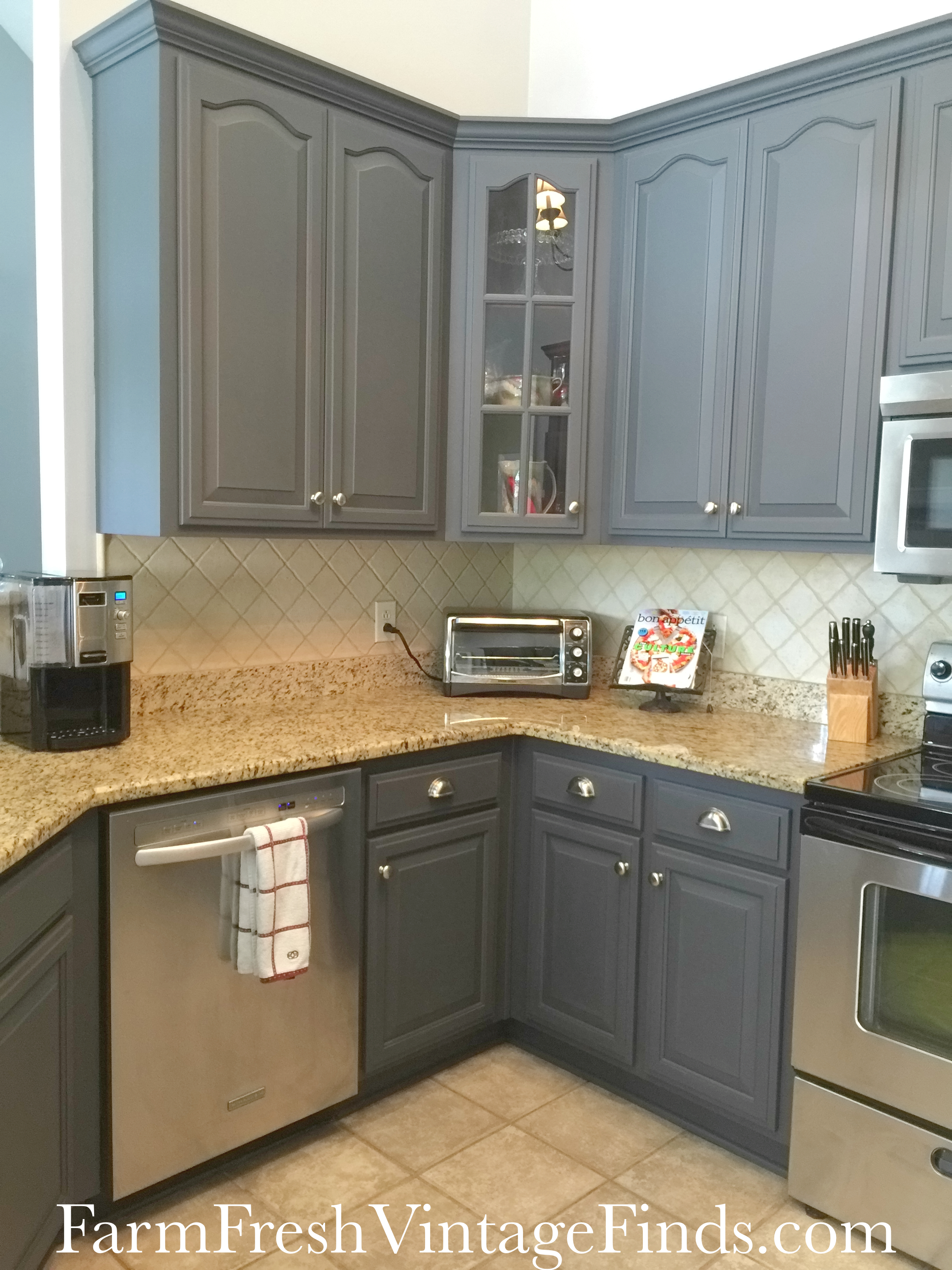 Painting kitchen cabinets with general finishes milk paint for Are painted kitchen cabinets in style