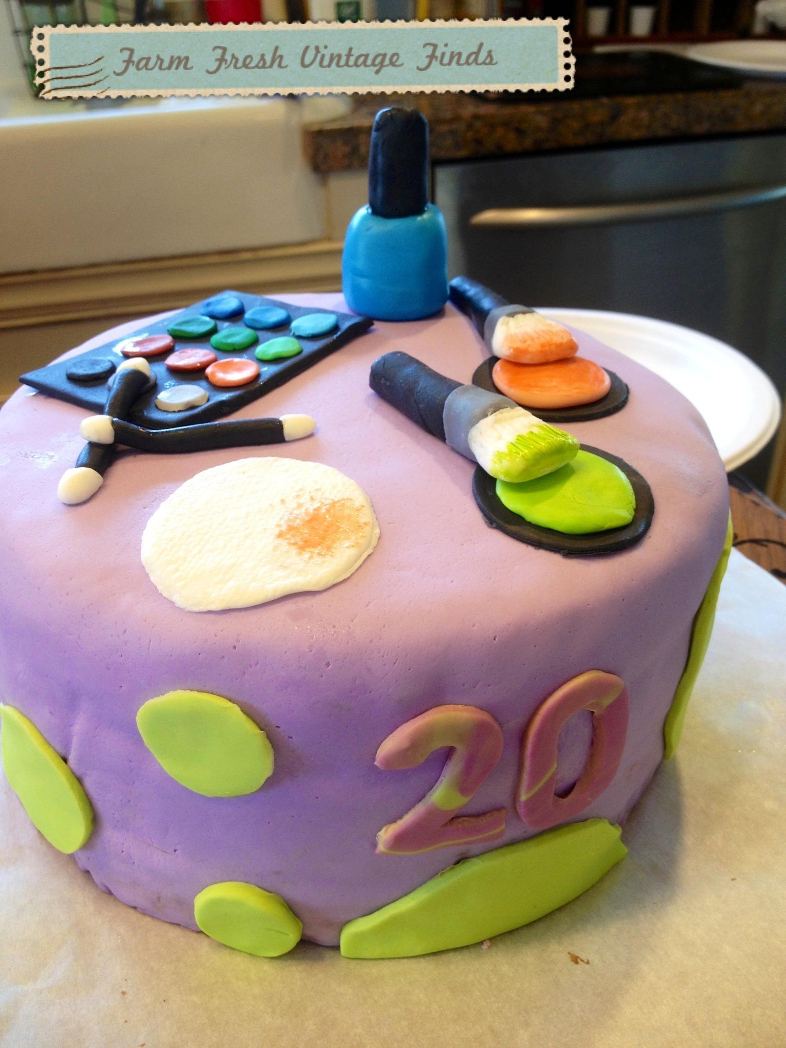 Make Up Themed Birthday Cake Farm Fresh Vintage Finds