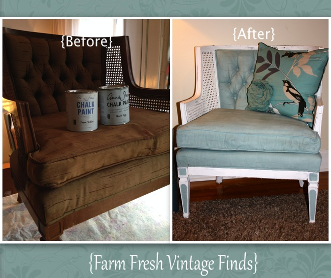 Painted Duck Egg Chair 15_0 & How to Paint Fabric with Annie Sloan Paint - Farm Fresh Vintage Finds
