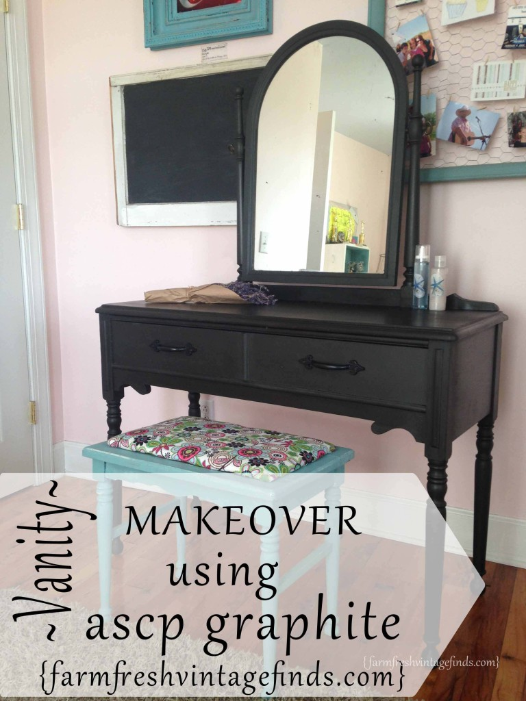 Vanity Refinished With Annie Sloan Chalk Paint In Graphite