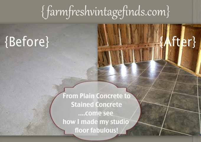How to stain concrete part 2 farm fresh vintage finds so in yesterdays post i left you standing in home depot crying out for help not knowing which stain to choose to stain my concrete floor solutioingenieria Choice Image