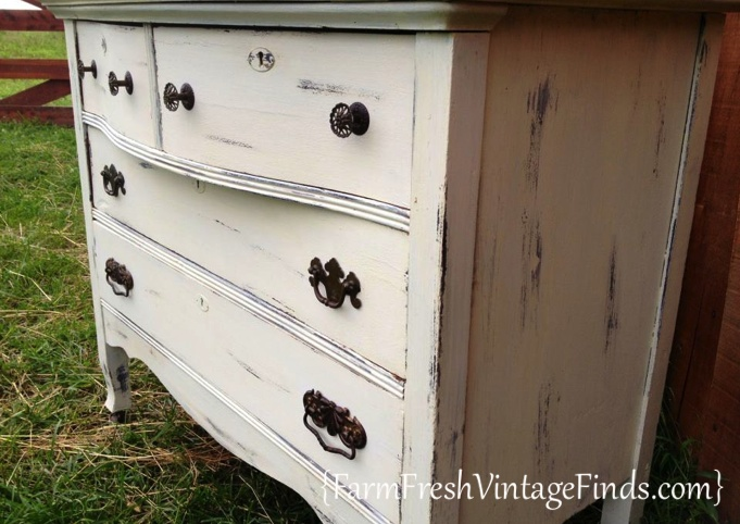 Dresser Transformed with White Latex Paint - Vintage White Painted Furniture Roundup - Farm Fresh Vintage Finds