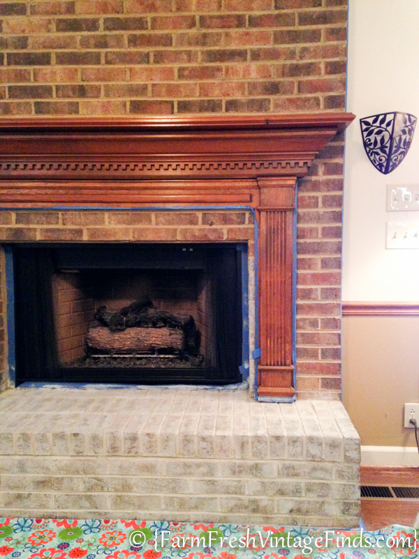 whitewash brick fireplace before and after how to whitewash brick farm fresh vintage finds 144
