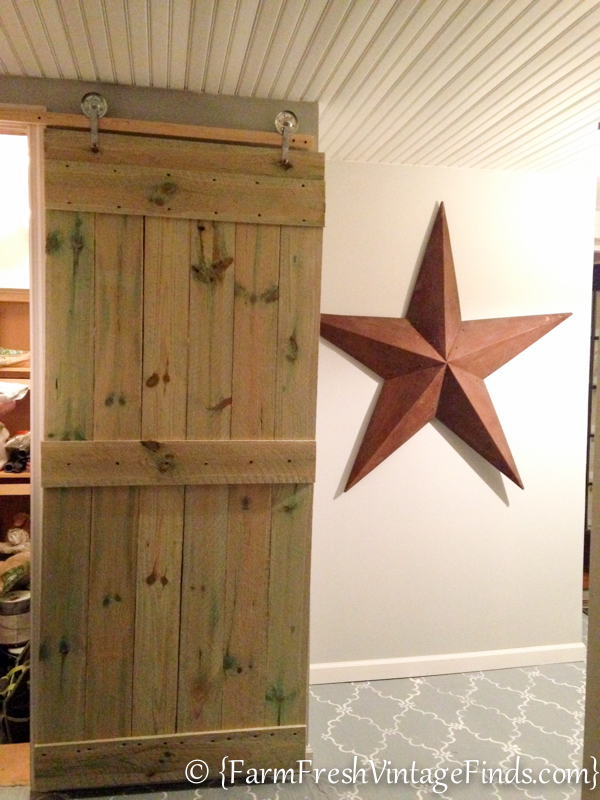 how to build a barn door for around 20 bucks farm fresh vintage finds. Black Bedroom Furniture Sets. Home Design Ideas