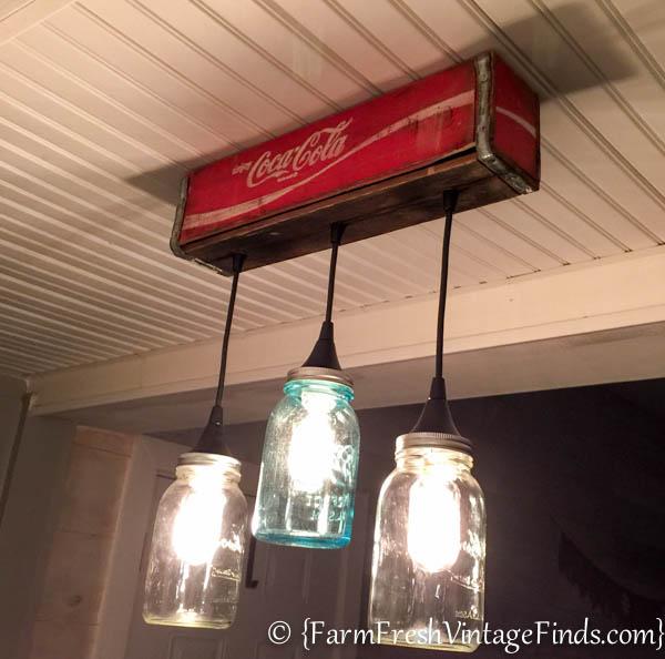 Coca cola mason jar light