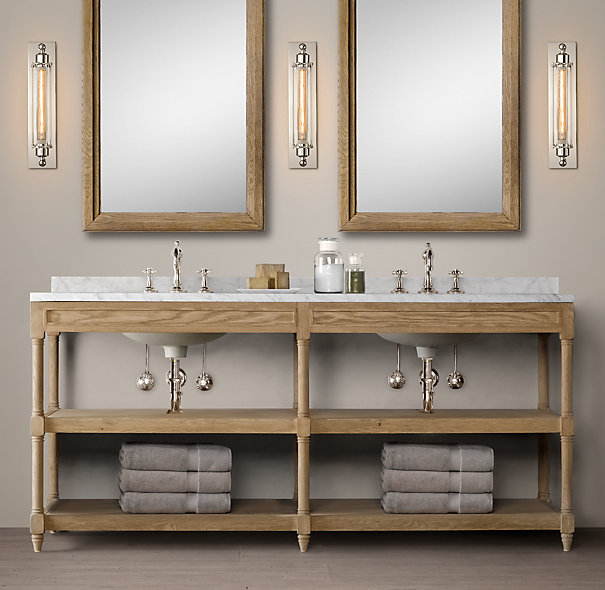 Restoration Hardware Bathroom Vanity Knockoff: How To Build A Custom Vanity {Without The Custom Price Tag