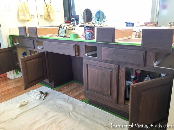 How To Paint An Oak Bathroom Vanity 5