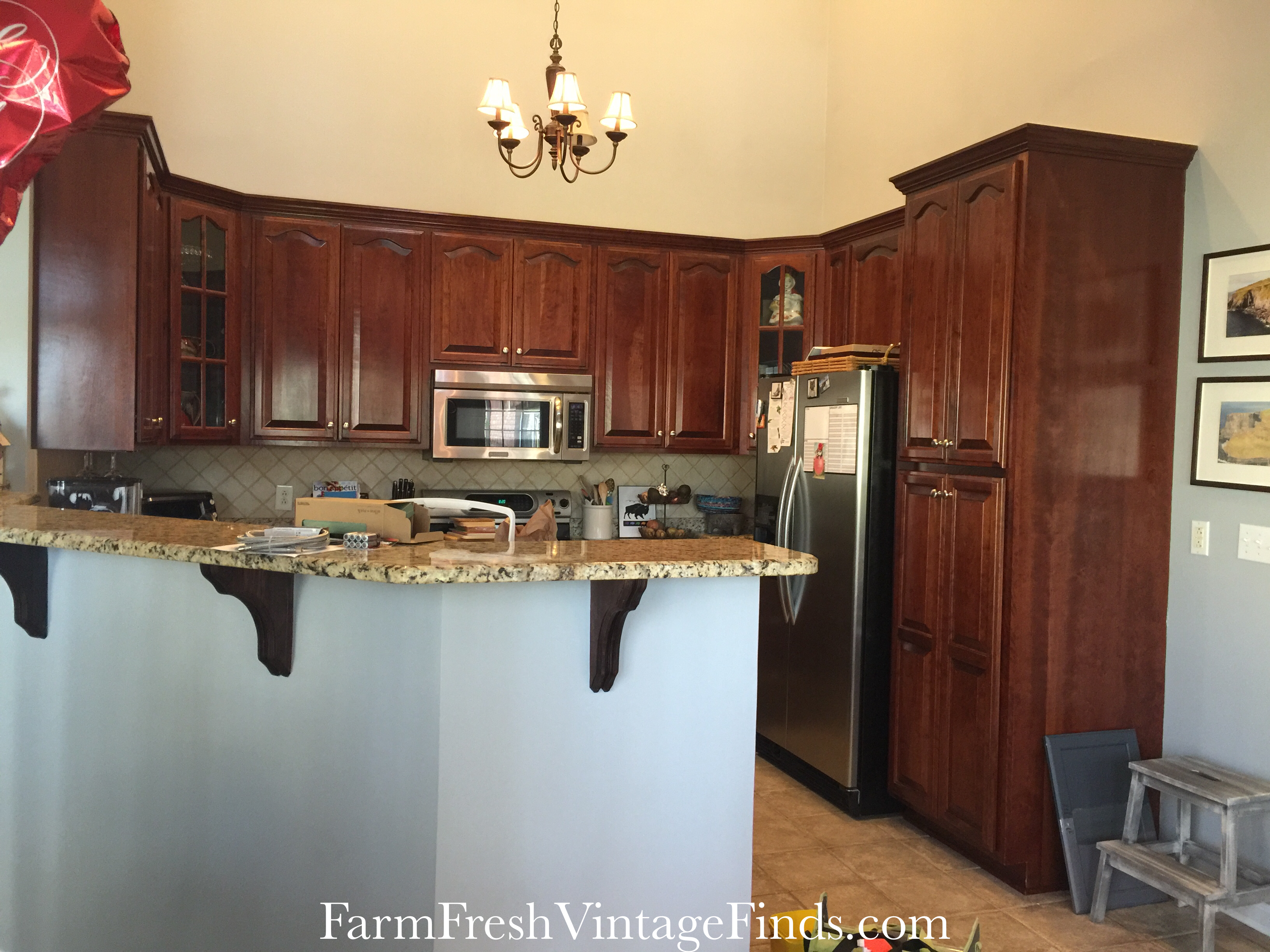 Before Kitchen Cabinets & Painting Kitchen Cabinets with General Finishes Milk Paint - Farm ...