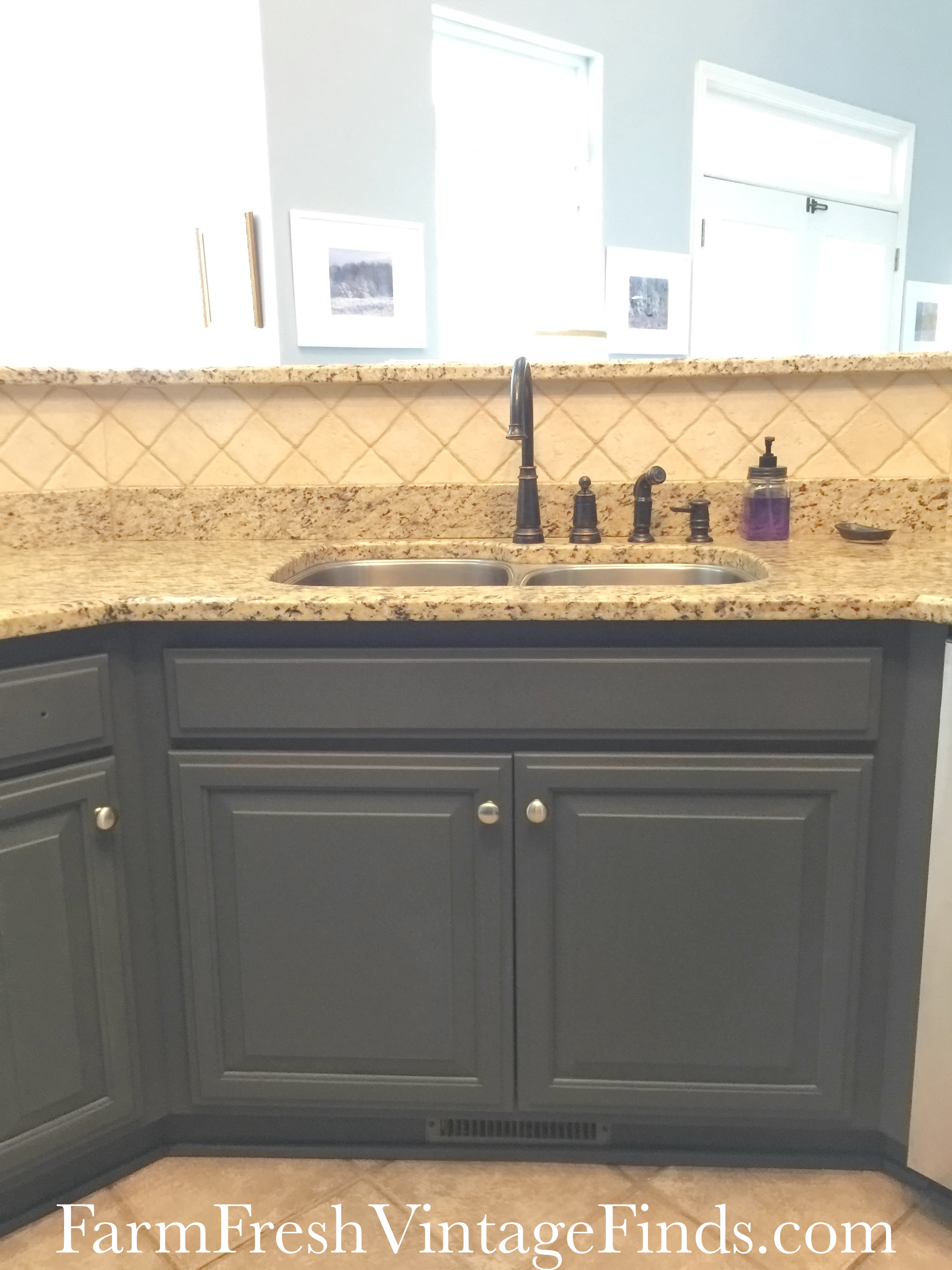 Painted Kitchen Sink close up & Painting Kitchen Cabinets with General Finishes Milk Paint - Farm ...