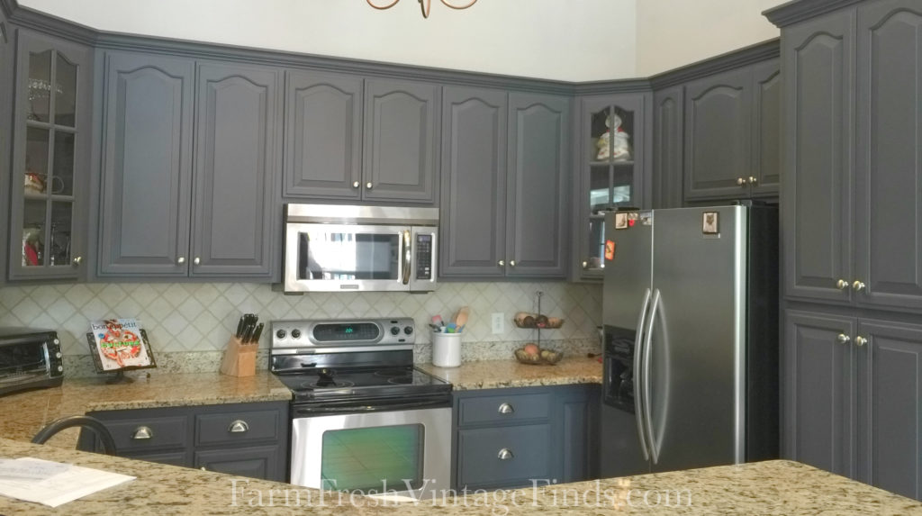 Cabinets Painted in Queenstown Gray & Painting Kitchen Cabinets with General Finishes Milk Paint - Farm ...